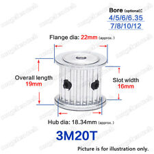 3M-20T Timing Pulley Idler without Bearing 4-12mm Bore 3mm Pitch for 15mm Belt