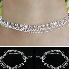 GT Girl Women Silver Plated Crystal Chain Bangle Cuff Charm Bracelet Jewelry