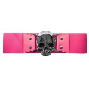 Kreepsville 666 Elastic Waist Belt Skull Pink Punk Pastel Goth