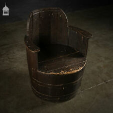 Antique Oak Barrel Seat with Hidden Storage