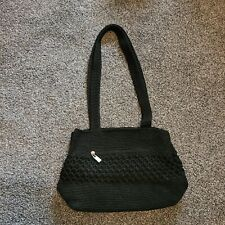 Worthington Womens Black Knit Shoulder Bag Purse