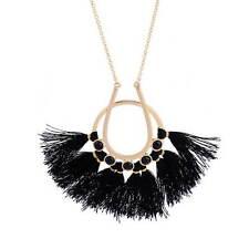 Handmade Black Fan Fringe Tassel Pendant Long Necklace