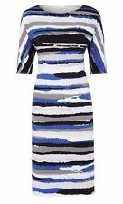 Polyester Round Neck Striped Regular Size Dresses for Women