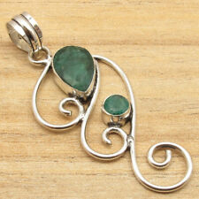 925 Silver Plated Faceted Simulated Emerald Gemstone Pendant Indian Jewellers