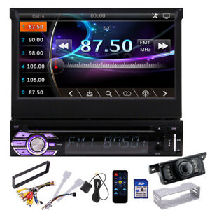 "7"" Single Din Car Stereo GPS Navigation Bluetooth Radio DVD player Head Unit Cam"