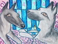 BELGIAN MALINOIS Drinking a Martini Dog Pop Folk Vintage Art 8 x 10 Signed Print