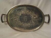 antique Derby Silver Plate handled platter ornate rimmed grape vine monogram G