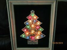 Vintage Framed Costume Jewelry Christmas Tree With Lights - Large and Stunning