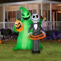 6.5 Ft JACK SKELLINGTON & OOGIE BOOGIE Airblown Lighted Yard Inflatable