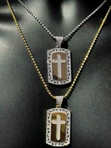 """Mens Solid 925 Silver Real Icy 1ct Diamond Dog Tag Cross Pendant 14k Gold 2"""""""