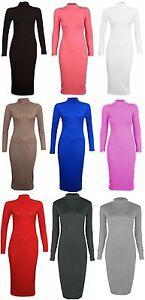 Womens Ladies Bodycon Midi Long Sleeve Polo Neck Turtle Neck Plain Midi Dress