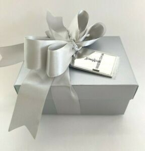 Neiman Marcus Silver Gift Box with Ribbon & Tissue 7 by 5 by 3 nches