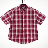 CARHARTT Short Sleeve Shirt Relaxed Fit RED Plaid Size 2XL Button Down Mens