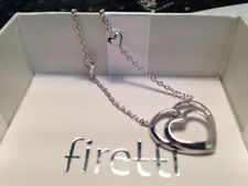 FIRETTI Kette Collier Herz Anhänger, Valentinstag kleiner Diamant, 925er Silber