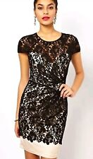 BNWT*LIPSY* Size 10, BLACK & NUDE GATHERED WAIST ALL OVER LACE DRESS, fitted