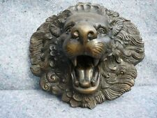 (bz-27) roaring Lion head flat bronze sculpture statue figurine casting art