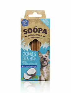 Soopa Healthy Dental Sticks for Dogs Coconut & Chia Seed Organic Low Fat Oral