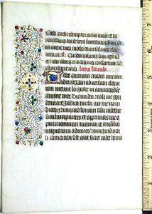 Medieval illuminated Book of Hours leaf,gold-heightenedinitials&border,c1450