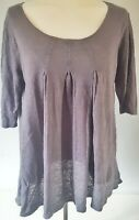 Poetry Women's Top Grey Size 12 100% Linen Smock Casual Summer VGC