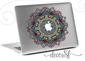 Mandala Flowers macbook sticker | Laptop stickers | Green Decal - Clear Vinyl