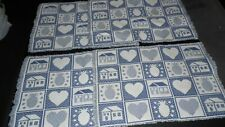 FARMHOUSE COUNTRY PLACEMATS SET OF 4 REVERSIBLE HEARTS HOUSES BLUE WHITE FRINGED