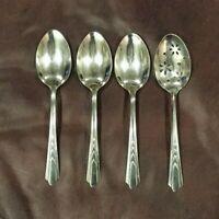Vintage EKCO USA Stainless Steel Chevron EKS7 Pattern Serving Pierced Spoons