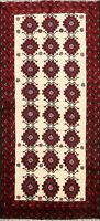 IVORY Tribal Balouch Hand-knotted Area Rug Geometric Oriental Foyer Carpet 3'x6'