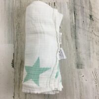 ADEN + ANAIS Aqua Green Turquoise Large Stars Cotton Muslin Baby Blanket Swaddle