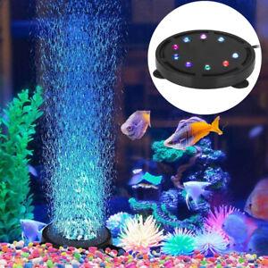 Aquarium Underwater Air Bubble LED Light RGB Submersible Lamp Remote Fish Tank