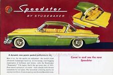 Old Print.  Green 1955 Studebaker Speedster - auto