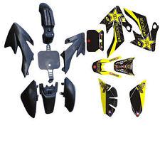BLACK BODY PLASTIC FENDERS & DECALS STICKER KIT FOR XR50 CRF50 SDG SSR 9 DE60+