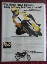 1974 Print Ad Yamaha Motorcycle ~ Kenny Roberts AMA Racing Grand National Champ