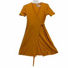 Paris Atelier Other Stories Womens Regular size 8 Yellow Ribbed Knit Wrap Dress
