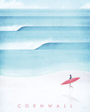 Henry Rivers - Cornwall Illustration Canvas Print Wall Art - 2 sizes available
