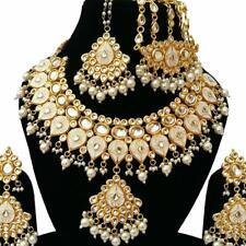 Bollywood Indian Bridal Wedding Jewelry Meena Enamel Kundan Necklace Set 5 Pcs