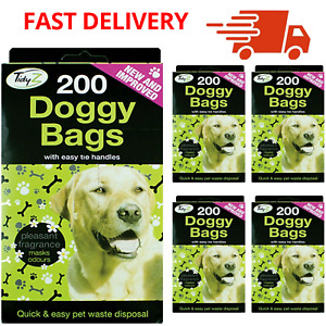 1200 x DOGGY BAGS Scented Dog Cat Puppy Poo Waste Easy Tie Scooper Poop Disposal