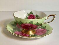 Royal Standard Huge Red Cabbage Roses Tea Cup and Saucer Set