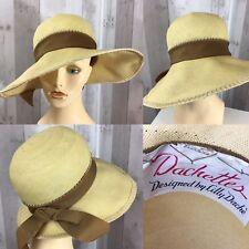 "1960s Vintage HAT Lilly Dache Natural Straw Wide Brim Rockabilly Retro 21"""