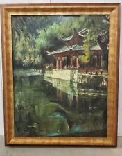 Chinese Oil Painting Pagoda Water Scene