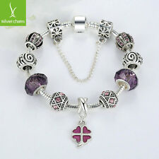 Authentic Purple Crystal Charms Bead Dangle Bracelet For Women Christmas Jewelry
