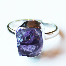 100% 925 Solid Sterling Silver Purple Amethyst Rough Stone Ring - Size 9
