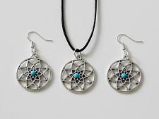 LEATHER CORD NECKLACE & EARRINGS WITH DREAM CATCHER PENDANTS BOHO CHIC