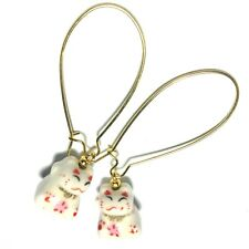 Gold Chinese Cat Bead Earrings With Extra Long Kidney Wires - Made In UK