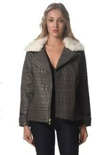 VIA SPIGA Grey Leather Look Quilted Style Biker/Moto Jacket & Faux Fur Collar
