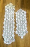 Vintage Hand Crochet Doily Table Runner Dresser Scarf Pink White Star Set of 2