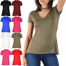 Womens Stretchy Polo Neck V Plunge Short Sleeves Ladies Top Viscose Jersey
