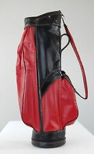 VINTAGE Leeds Red and Black Vinyl and Leather Golf Club Cart Bag