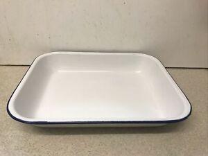LARGE Vintage White & Blue Enamel Baking Roasting Pie Tray Dish 34 cm by 27.5 cm
