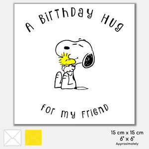 Personalised Happy Birthday Greeting Card Snoopy Dog Inspired Hug Cute Friend