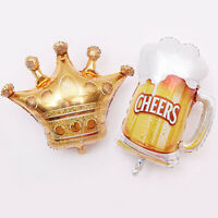 EE_ Aluminum Foil Crown Beer Glass Balloon Birthday Party Wedding Home Decor Rel